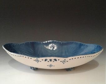 Decorative oval porcelain bowl