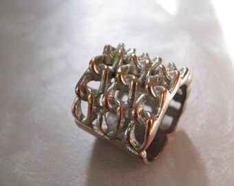 Chainmaille Look Ring - Size 8 Copper Ring - Chain Link Ring