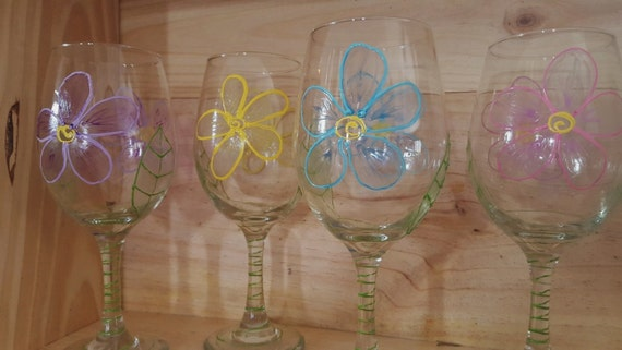 Hand-Painted Wine Glasses - Gallery Collection/Spring Flowers