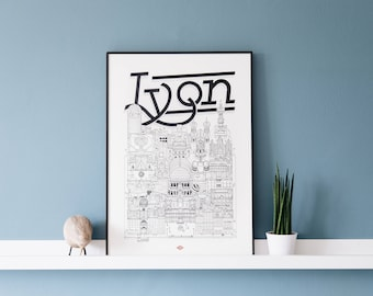 Lyon / 32x45 cm / Docteur Paper / Travel With Me / Illustration / Voyage / Affiche / Ville / Décoration murale / Noir et Blanc/ Map / Design