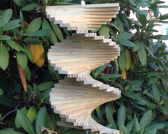 12 inch handmade wooden wind spinner garden spinner wood yard art twister wood kinetic spinner helix spiral spinner   Hanging porch decor
