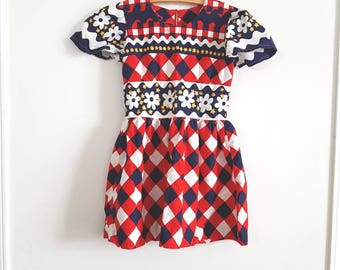 Vintage Navy, Red and White Girl's Dress