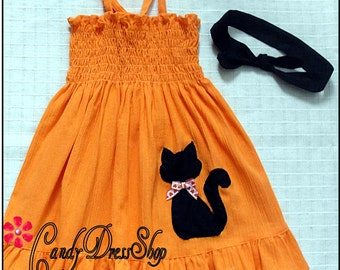 Halloween dress, Black Cat Halloween Dress, Natural cotton dress, Girls Pumpkin dress and matching headband, Orange dress for Halloween