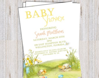 Spring Easter Baby Shower Invitation - Printable and Custom Invite