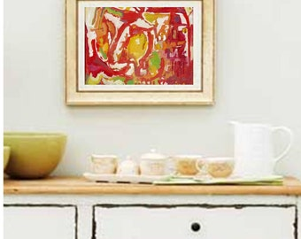 ABSRACT OIL PAINTING contemporary colorful art oil on canvas modern art deco contemporary abstract colorful yellow red oil painting b016