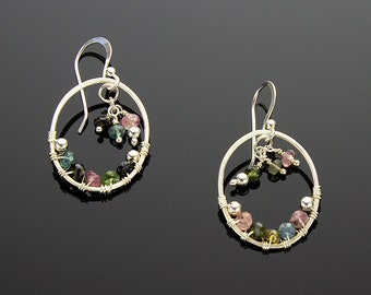 Handmade Sterling Silver Oval Earrings with Natural Tourmaline