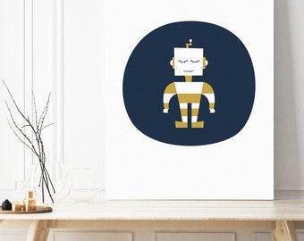 robot canvas, boysroom canvas, boys decor, robot decor, robot picture, robot wall art