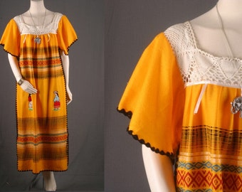 Maxi dress handwoven Guatemala crochet yellow gypsy hand embroidered vintage dress 70s women size M or L medium or large