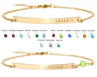 Sterling Silver bracelet, Gold bar bracelet, Mother's day Gift, Personalized bracelet, Engraved bracelet, Wedding gift, Bridesmaid gift