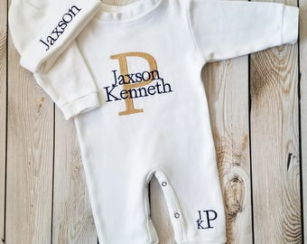Monogrammed Baby Boy Outfit Baby Boy Coming Home Outfit Newborn Baby Boy Personalized Baby Gift Embroidered Baby Boy