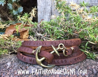 Prayer Wrap with Anchor leather wrap bracelet