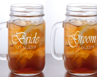 Bride and Groom Mason Jar Mugs, Personalized Wedding Glasses, Custom Engraved Beer Mug, Rustic Wedding Gift Idea, Wedding Gifts, Set of 2