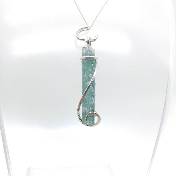 Raw Crystal Necklace | Blue Tourmaline Pendant | Sterling Silver Pendant | Rough Tourmaline Necklace | Tourmaline Crystal Pendant