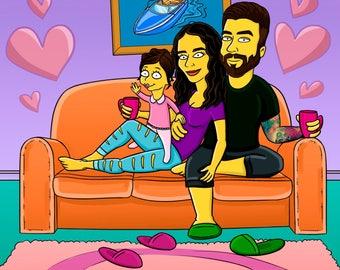 Custom Yellow Character FAMILY Portrait / family illustration / family portrait gift / family portraits / family cartoon / draw my family