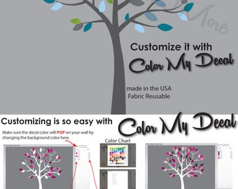Gray Tree Wall Decal with leaves, Nursery Wall Decal for Kids Room (Blue Gray) SmTO