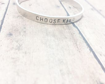 Choose Kind Hand-Stamped Silver Bracelet Cuff - Choose Kind Gift - Christian Gift - Inspirational - Hand-Stamped Jewelry - Thin Silver Cuff
