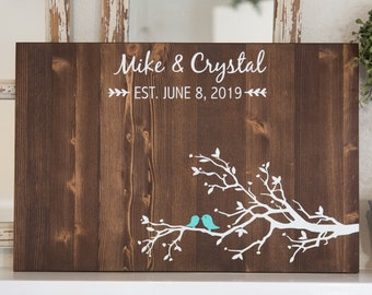 Tree Branch with two perched birds Wedding Guest Book Alternative Wood Sign