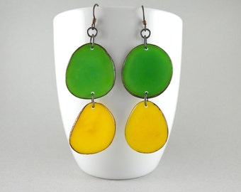 Lime and Lemon Tagua Nut Eco Friendly Earrings with Free USA Shipping #taguanut #ecofriendlyjewelry