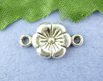 lot 10 Fleur 10 x 18 mm silver color connectors