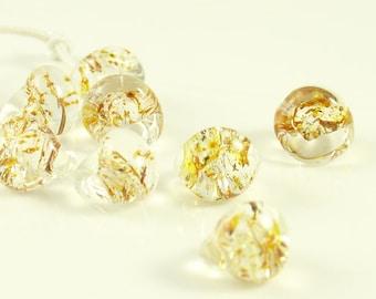 10mm Unicorne Tear Drop Lampwork Beads - Goldrush Glitter - 4 Pieces - 22095