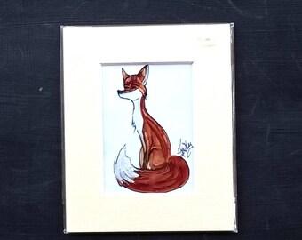 Fox,red fox,animal,wild animal,hunted animal,fox and hounds,whimsical  fox,whimsical animal,ACEO painting