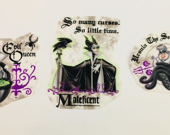 Set of 3iron on Disney Villains/witches Fabric Motifs/Patches/Embellishments