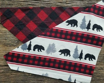 Plaid Dog bandana, bears, red buffalo plaid, flannel, reversible over the collar