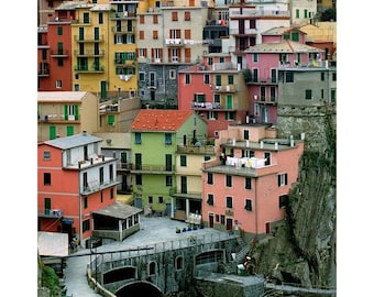 Fine Art Color Travel Photography of Colorful Homes in Manarola Italy Along the Cinque Terre - Vertical or Square Print