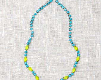 Turquoise and Lime Handmade Necklace Hand Painted Rhinestone Colorful 7HH