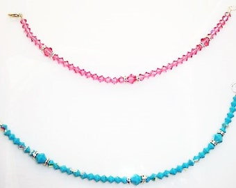 Swarovski Crystal Turquoise AB Ankle Bracelet Weddings Bride Bridesmaid Mother of the Bride Mother of the Groom