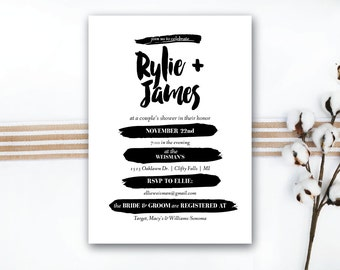 INSTANT DOWNLOAD couple's shower invitation / wedding shower / engagement party / his and hers shower / modern invitation