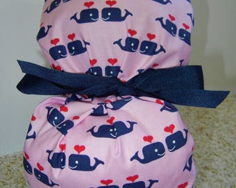 Fold Up Ponytail Surgical Scrub Hat with Whales in Love Pink Navy CHOOSE RIBBON COLOR