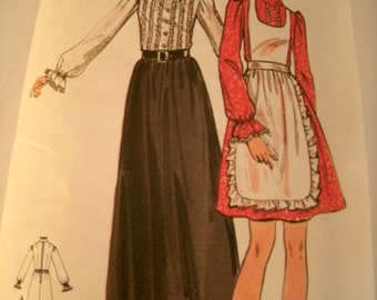 Vintage 1970s Dresses and Pinafore, Butterick Sewing Pattern, 6445, Size 12, Bust 34 Inches