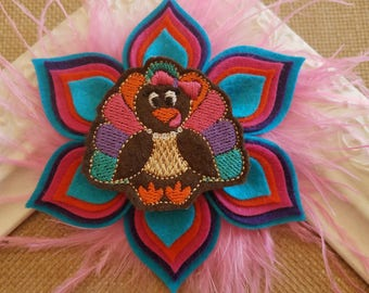 "4"" Turkey Bow, Turkey Hair Clip, Turkey Headband, Thanksgiving Headband, Thanksgiving Bow, Fall Bow"