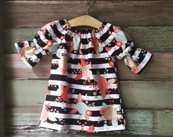 Black Stripe Dress, easter dress, Girls Floral Dress, Coral Dress, Black and Gold dress, take home outfit, toddler dress, mint gold dress
