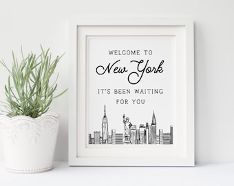 Welcome to New York  Lyrics DIGITAL Poster- It's Been Waiting for You, New York City, Manhattan, the Big Apple