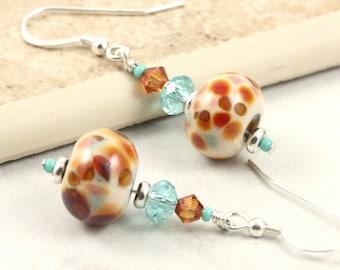 Lampwork Earrings in Seafoam Green, Copper and Turquoise Crystal Aqua Dangle Earrings Summer Jewelry Multicolor Earrings Cream Lampwork