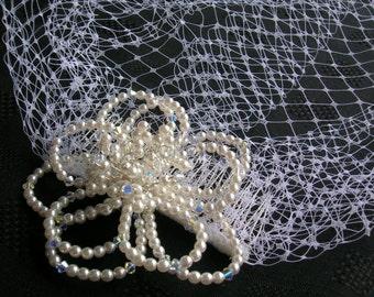 Swarovski Crystal & Pearl Flower Bird Cage Veil