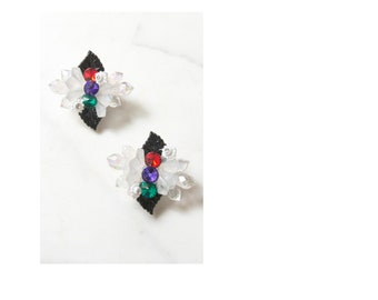 Lucite and Jeweled Floral Acrylic Earrings . Push Back
