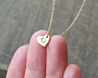 Personalized Hammered Heart Necklace with Initial / Gold Heart on Gold Filled Chain ... choose your CAPITAL letter