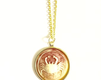 Cancer Astrology Necklace, Astrology Necklace, Vintage Astrology Cameo Necklace