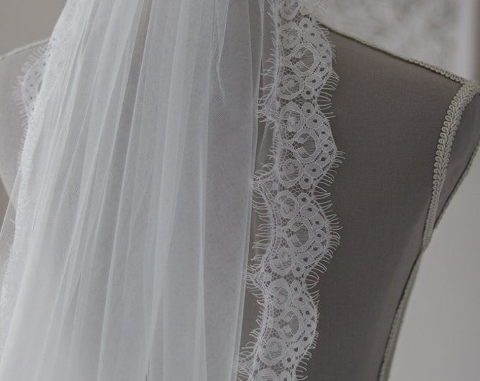 Eyelash Lace Chapel length wedding veil