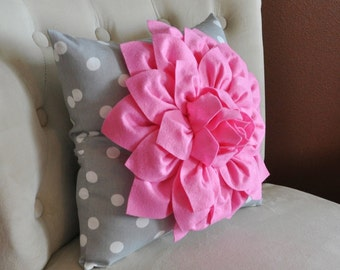 Pink Gray Nursery Pink Dahlia on Gray and White Polka Dot Pillow -Baby Nursery Pillow- Toss Pillow Decorative Pillows