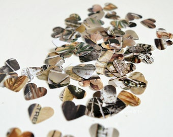 Camo Confetti - Camouflage Hearts - Camouflage Paper Hearts - Table Scatter Camo Confetti Hearts - Rustic Country Weddings, 100 Pcs