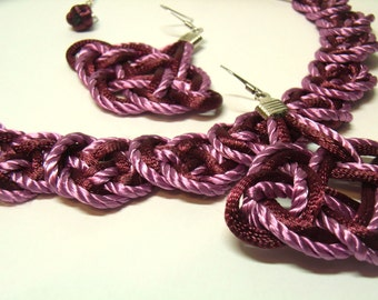 Chinese Knot Necklace with 925 Silver Earring Set - Maroon