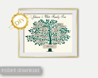 DIY Editable Family Tree Digital Print Emerald Tree Genealogy Print Family Tree PRINT Wall Art decor Family Tree Printable Genealogy art