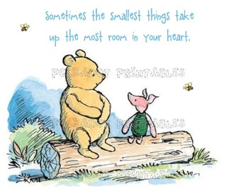 Set of 4 Classic Winnie the Pooh and Piglet Cards - Instant Download - 4 PDFs