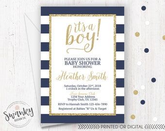 Navy and Gold Baby Shower Invitation, Its a boy Invitation, Navy White Striped Baby Shower, Gold Glitter Baby Boy, Printed or Digital File