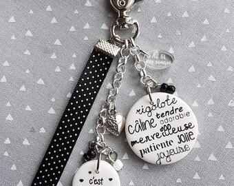 MOM keychain or bag charm