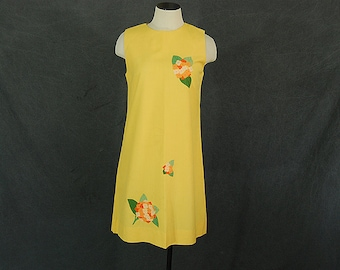 vintage 60s Dress - 1960s Floral Applique Shift Dress Yellow Sun Dress Sz M